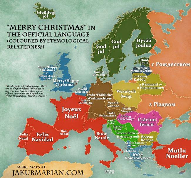 Frohe weihnachten sprachen europa